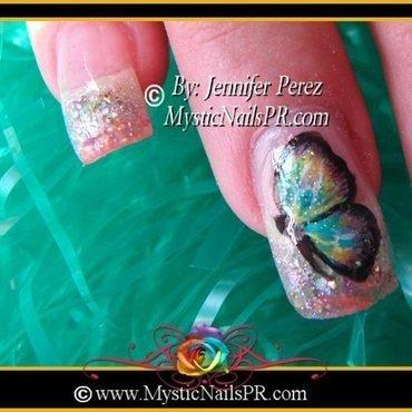 Colorful Butterfly by Jennifer Perez nail art by Jennifer Perez ♥ Mystic Nails