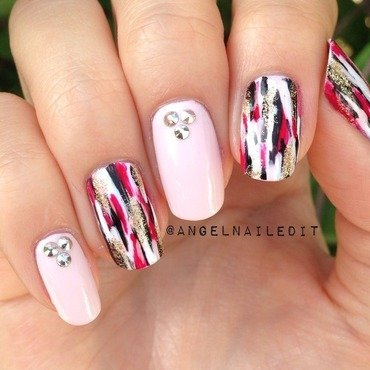 Fun, bright pattern + crystals nail art by Angel Son