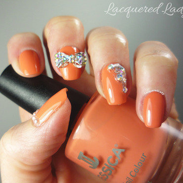Sparkle 3D Bow Mani nail art by LacqueredLady