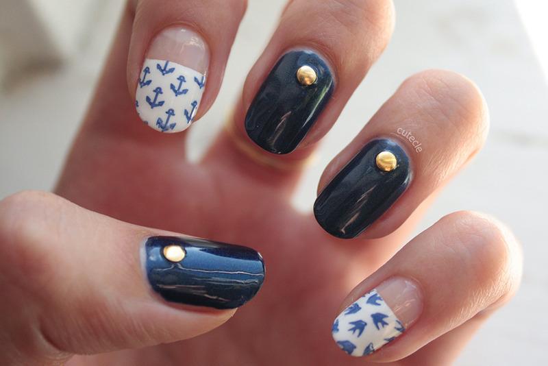 Nautical nail art by Cutecle