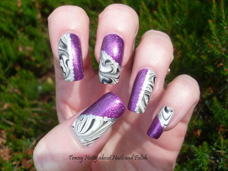 Taped Water Marble nail art by Tracey - Bite no more