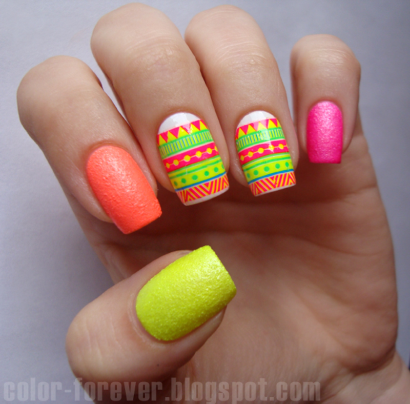 neon & neon  nail art by ania