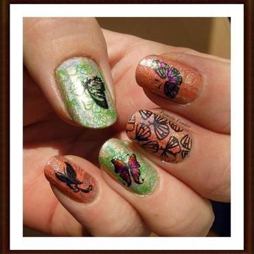 Green & Orange Butterflies nail art by Pamela Feader