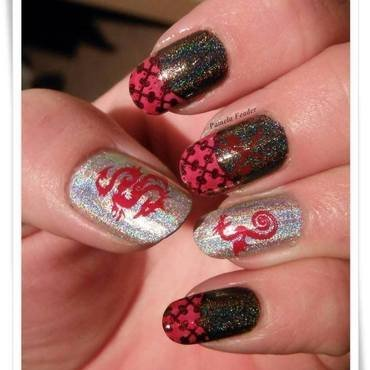 Black, Silver & Red Dragons nail art by Pamela Feader