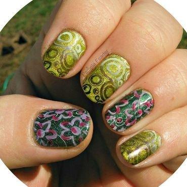 Green Anti-Leadlighting nail art by Pamela Feader