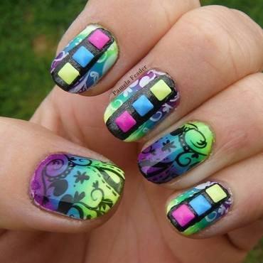 Neon Studs nail art by Pamela Feader