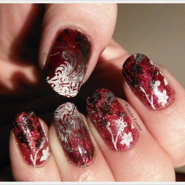 Red Gradient Stamping nail art by Pamela Feader