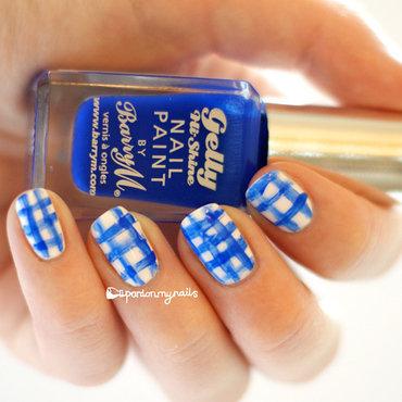 Dry Brush Strokes Gingham nail art by Pardon My Nails