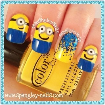 Minion Nail Art nail art by Nicole Louise