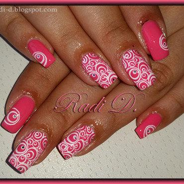 Pink with circles nail art by Radi Dimitrova