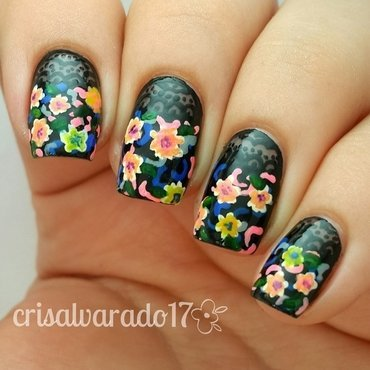 Lace and flowers nail art by Cristina Alvarado