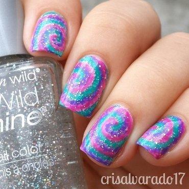 Sparkly Tie Dye nail art by Cristina Alvarado