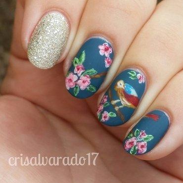 Kath Kidston inspired nail art by Cristina Alvarado
