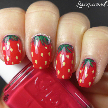 Strawberry Nails Forever nail art by LacqueredLady
