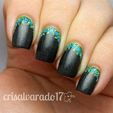 Flower ruffian mani nail art by Cristina Alvarado