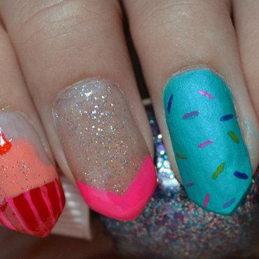 Ice Cream and Cupcake Skittle nail art by Leesha