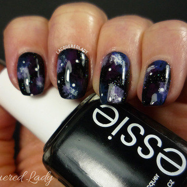 Galaxy Nails nail art by LacqueredLady