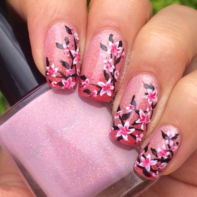"Thermal Florals nail art by Amanda ""Sparklicious Nails"""