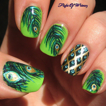 Peacock nail art by Flight of Whimsy