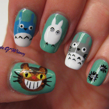 Totoro nail art by Flight of Whimsy