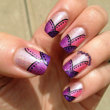 Pink Patchwork nail art by Flight of Whimsy