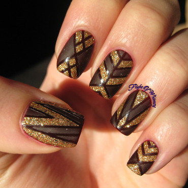 Golden and Lined nail art by Flight of Whimsy