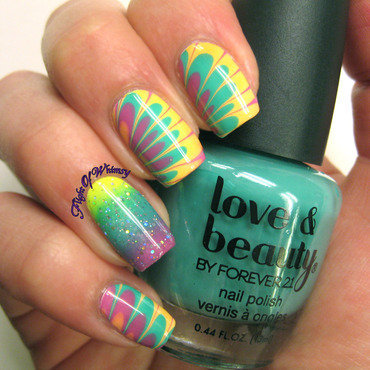 Tropical Marble nail art by Flight of Whimsy