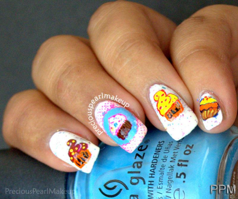 Cupcake Nails nail art by Pearl P.