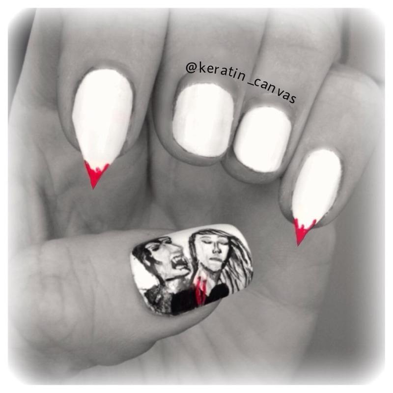 Vampire Bites nail art by Amanda