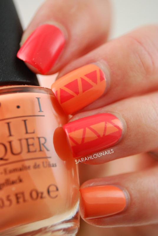 Orange Triangle Nails nail art by Sarah S