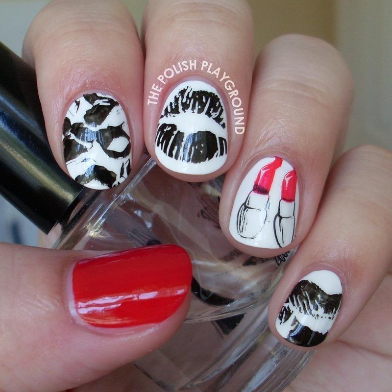 Lipstick Kisses Stamping nail art by Lisa N