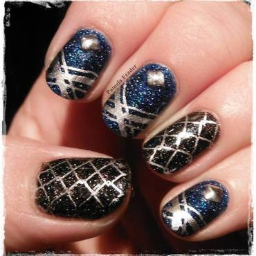 Black & Blue nail art by Pamela Feader