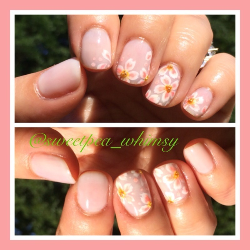 Cherry Blossoms on Nude nail art by SweetPea_Whimsy