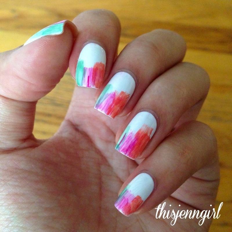 Summer Dry Brush nail art by Jenn Thai