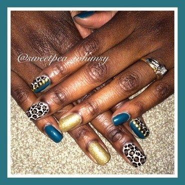 Teal, Leopard Print, and Gold  nail art by SweetPea_Whimsy
