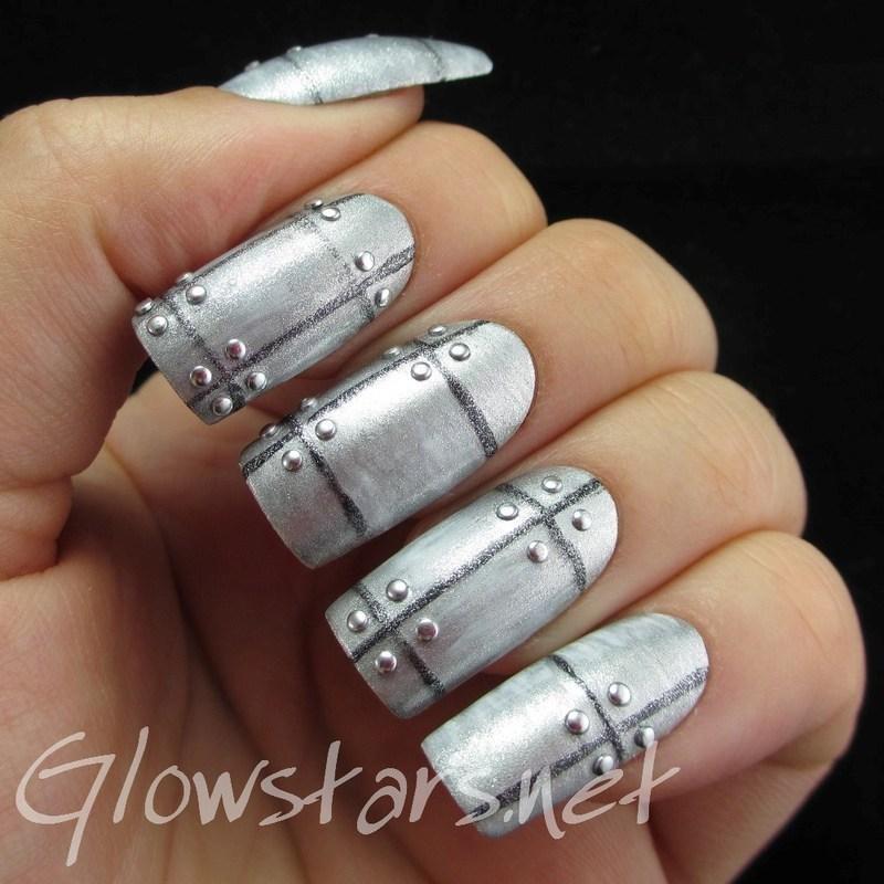 The Digit-al Dozen Does Metal: Panels nail art by Vic 'Glowstars' Pires