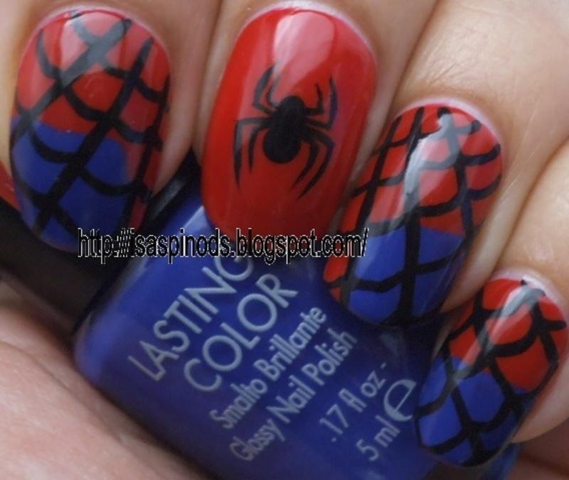 Spiderman  nail art by Isabel