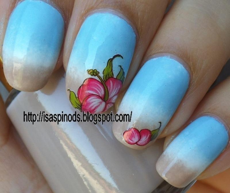 Gradient Beach & Hibiscus! (KkCenterHk) nail art by Isabel