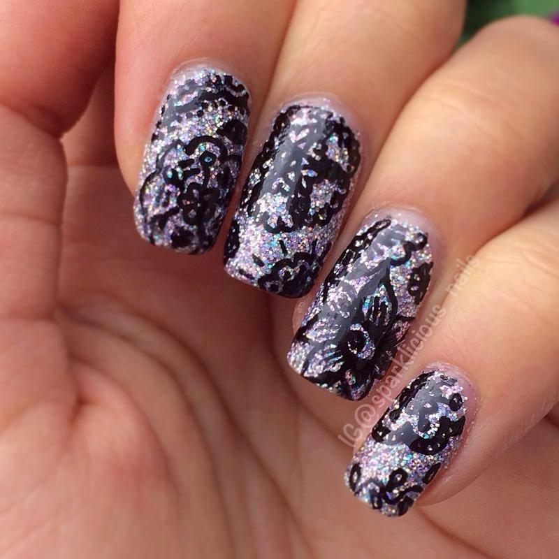 "Doodles on Glitter nail art by Amanda ""Sparklicious Nails"""