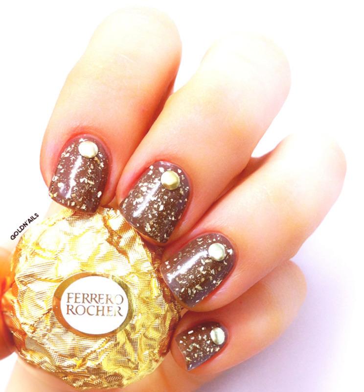 Ferrero Rocher Nails nail art by Goldi