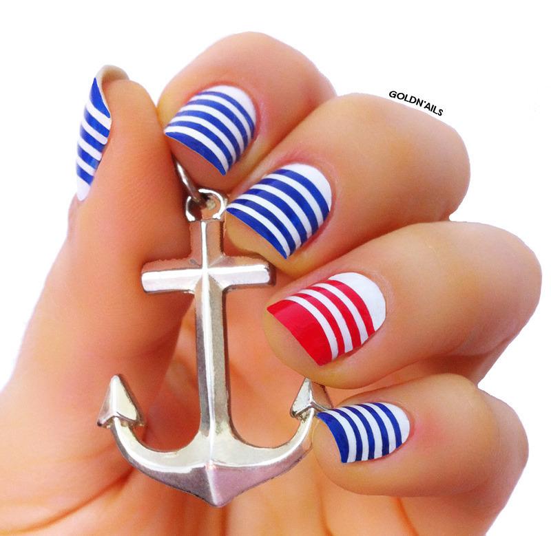 Sailor nails nail art by goldi nailpolis museum of nail art sailor nails nail art by goldi prinsesfo Image collections