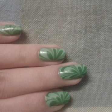 Hues of Green nail art by Anaita