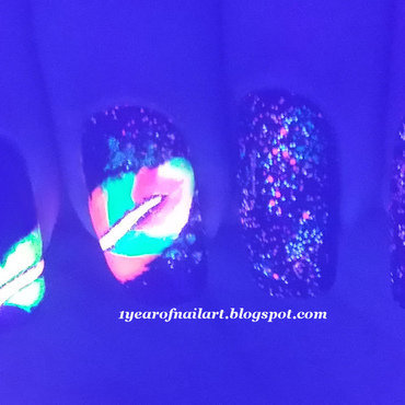 Neon feather nail art thumb370f