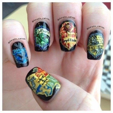 Hogwarts Houses nail art by Amanda