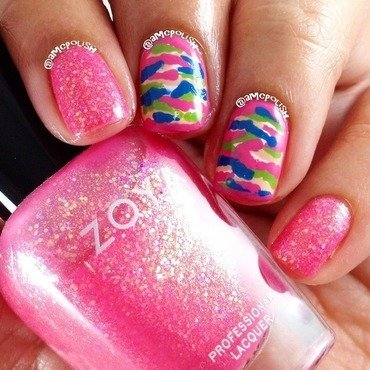 Pink Camouflage  nail art by Amber Connor