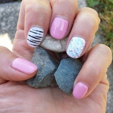 A new version of pinks and whites  nail art by AddictionByNail