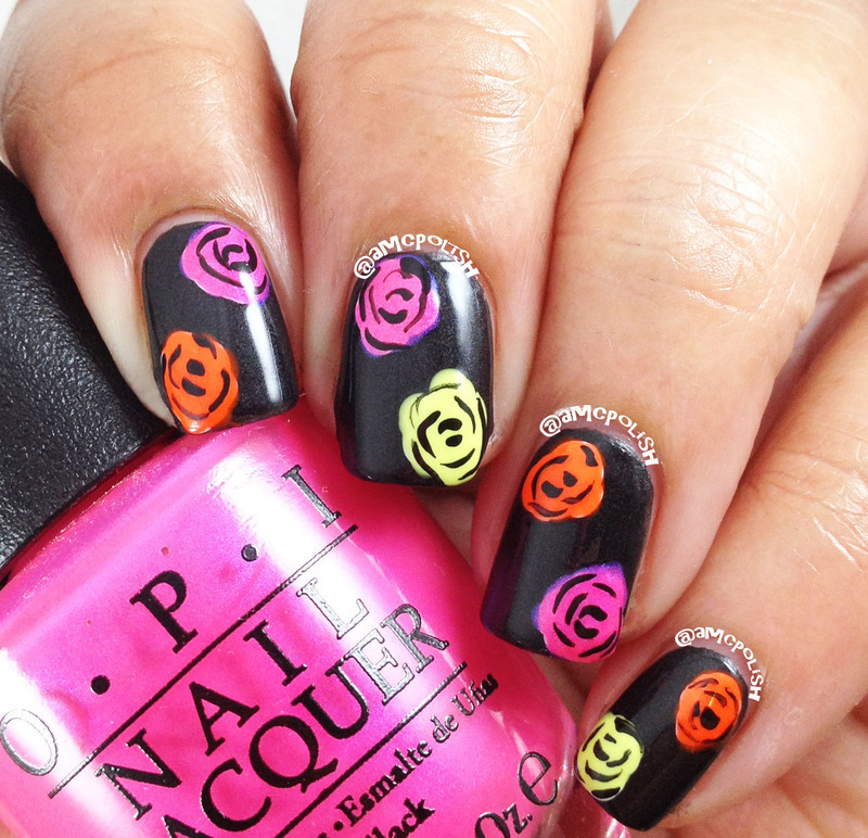 Neon Roses nail art by Amber Connor