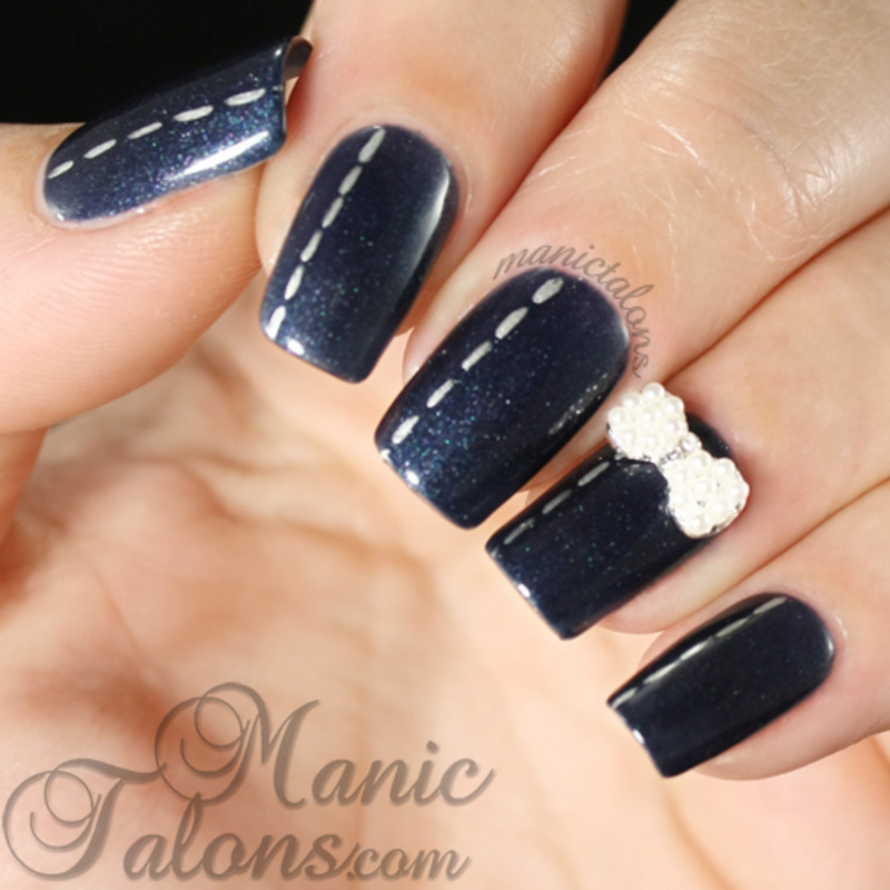 Denim and Pearls nail art by ManicTalons