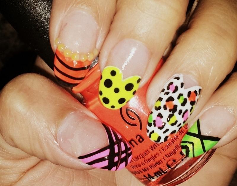 Neon summer fun! nail art by nailsbytee