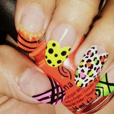 Neon summer fun! nail art by nailsbytee